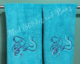 Embroidered octopus hand towels