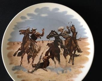 Vintage Frederic Remington Plate, Frederic Remington Collection, Aiding A Comrade, Western Decor, Rustic Decor, Old West Decor