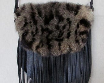 Black leather bag with opossum  fur and fringe