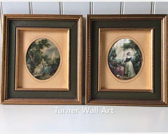 Turner Wall Art/Turner Wall Accessory/Turner Mfg. Co./Silk Art Print/Classic Art Print/French Art Scenes/Rococo Style Art/Vintage Framed Art