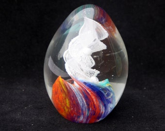 Beautiful Swirled Glass Paperweight 3.5 inches