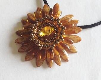 Brown and yellow flower Corolla medallion with Sunflower Swarovski