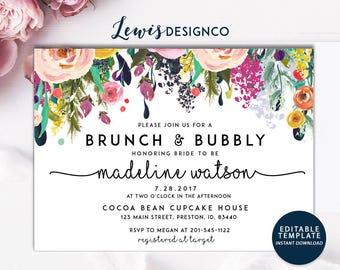 Brunch and Bubbly Floral Bridal Shower Invitation, Bridal Brunch, Instant Download, PDF Flower Card Invite, Printable File