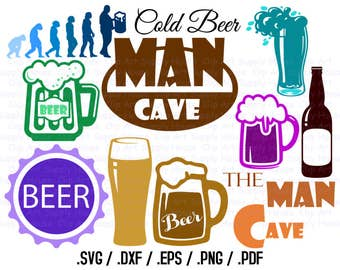 Man Cave SVG Files, Beer Clipart, Man Cave Wall Art SVG, Use With Silhouette Software, dxf files, svg file, EPS File, Silhouette - CA367