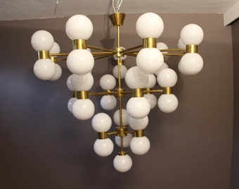 Brass and White Glass Globe Chandelier in Stilnovo Style