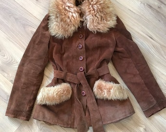 Beautiful Vintage 70s Penny Lane Suede Faux Fur coat Small