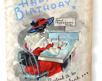 Vintage 1930s Card Vintage Women's Birthday Card Happy Birthday Art Deco Card