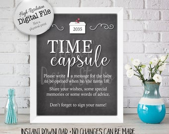 Baby Time Capsule Sign, Baby Shower Printables, Baby Shower Decor, Chalkboard Style, 8x10/16x20, Instant Download, Digital Files