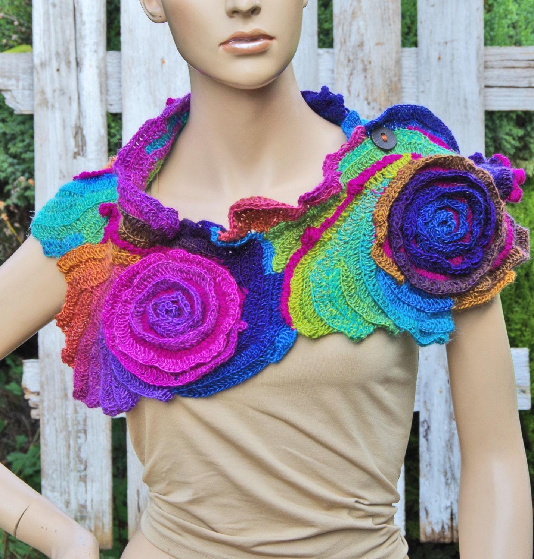 Crochet Scarf Roses Unique Capelet Neck Warmer Freeform