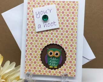 Owl Card, Your a Hoot Card, Pun Card, Funny Card for Boyfriend, Friend Card, Funny Husband Card, Thinking of You Card, All Occasion Card