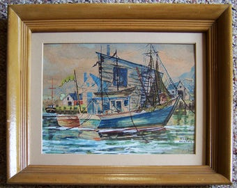 Original Watercolor - Gloucester MA Massachusetts - Sail Boats in the Harbor by Alton Wilcox of Chelsea MA - Titled: Gray Day at Gloucester