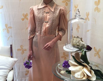 1910s silk crepe and alencon lace gown with rhinestone clasps