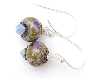 Floral Earrings Light Blue Earrings Purple Earrings Pink Earrings Handmade Lampwork Earrings Natural Colors Spring Earrings