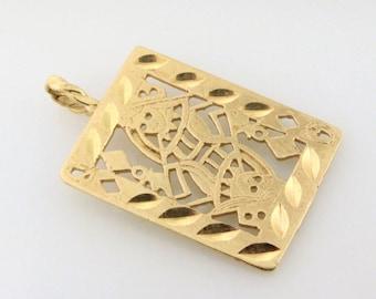 14k Queen of Diamonds Playing Card Pendant. Circa 1970s - GOLD10013
