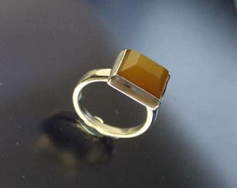 Gypsy  Ring Carnelian Faceted Gem Sterling Silver Handmade