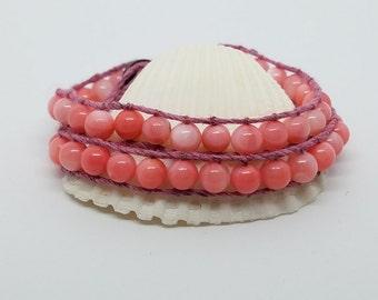 Hemp bracelet double wrap 6mm pink shell beads
