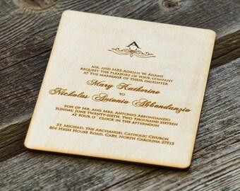 Wooden wedding invitation custom design wedding invitations engraved wedding invitation laser cut wood wedding invitations handmade