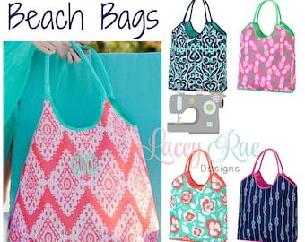 Monogrammed Beach Bag, Pool Bag, Personalized Tote Bag, 5 options