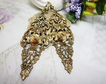 """Chandelier earrings Filigree earrings Dangle Victorian style earrings Long earrings Swarovski earrings Antique brass """"Golden spark"""""""