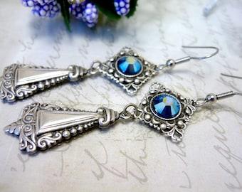 Art Deco earrings Dangle earrings Earrings Silver plated earrings Art Deco Jewelry Drop Victorian earrings Ornate earrings