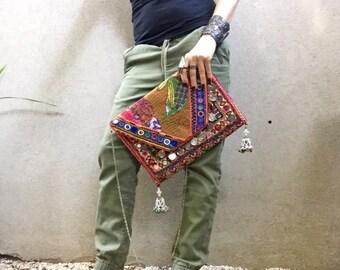 Boho Clutch, Banjara Clutch, Vintage Clutch, Laptop Bag called Riley