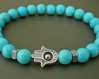 Hamsa Bracelet Healing Stretch bracelets Yoga Jewelry Turquoise Howlite Beads Meditation buddhist wrap Hamsa hand turquoise bracelet for her