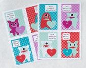 Printable Monster Valentines Card, Printable Valentines Day Cards, Monster Valentines for Kids, Digital Valentines PDF, Valentines Download