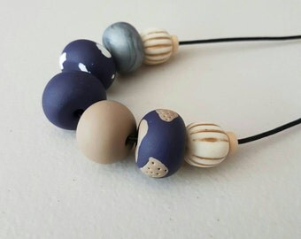 NEW Tan, deep blue and silver clay bead necklace, polymer clay jewellery, blue and tan, clay necklace, gift for her