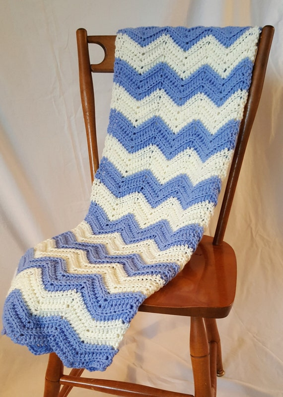 Baby Blanket - Chevron Bluebell and Antique White