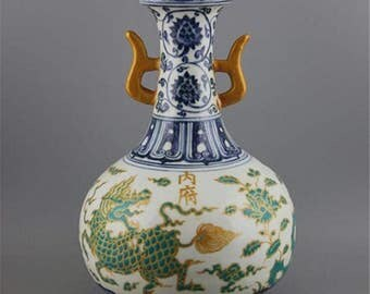 A Exquisite Chinese Antique Blue&White Green Glaze Porcelain Kylin Vase-Free Ship