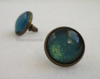 Cabochon earrings turquoise metallic