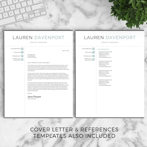 professional and modern resume template for word and pages creative resume design cv template for word instant download resume - Mac Pages Resume Templates