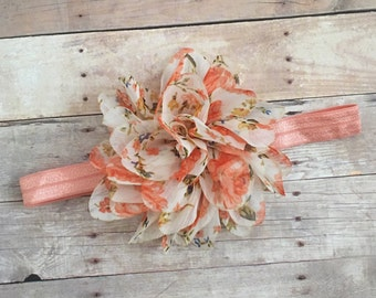 Floral Baby Girl Headband, Peach Baby Headband, Chic Headband, Newborn Headband, Toddler Headband, Baby Photo prop, Baby Shower Gift