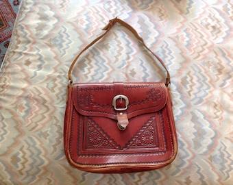 Vintage red leather shoulder bag