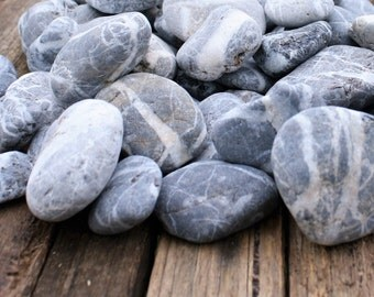 Sea Tumbled Stones / Rocks - Grey Shot with White Quartz - 2kg of Beach Decor / Craft Supply