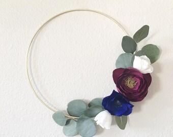 Boho Paper Flower Wreath- Gold Hoop Wreath- Crepe Paper Flower Wreath- Modern Wreath-Nursery Decor-Floral Nursery Decor-Boho Nursery Art