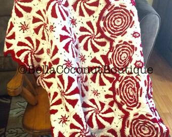 Peppermint Swirl Afghan, Holiday Blanket, Peppermint Candy Blanket, Crochet Peppermint Blanket