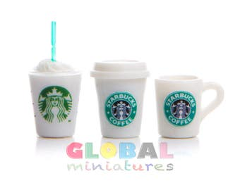 Dollhouse Miniatures Glass and Mug of Starbucks Coffee