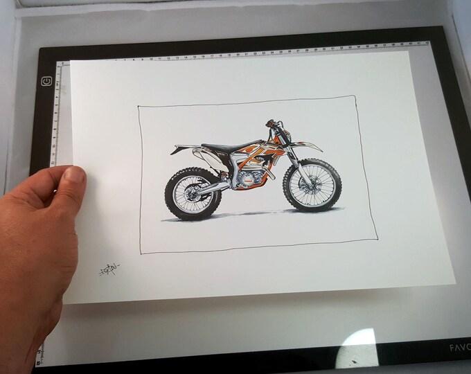 KTM Freeride Motorcycle  | Fine Art Print | Motorcycle Art | Motorcycle Illustration