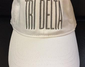 Delta Delta Delta // Tr Delta // Embroidered Sorority Baseball Cap // Big Little Gift // Recruitment Sorority Gift