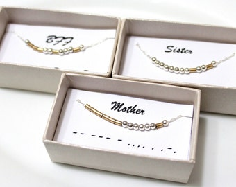 Mother Morse Code, Morse Code Aunt, Morse Code BFF, Custom Morse Code Necklace, LOVE Necklace, Sister Morse Code Necklace, Bridesmaid Gift