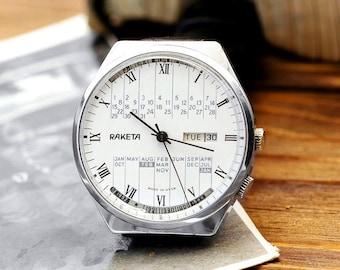 Vintage White Raketa Rocket Calendar Russian Soviet Men's Watch with strap