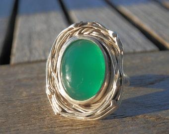 Adjustable Ring, Solid Silver Green Agate, Original Handmade Poetic Elegant