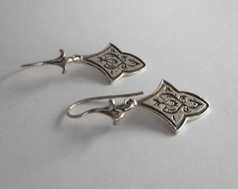 Sterling Silver Persian Floral Earrings Bohemian Jewelry Made in Montana Fine Jewelry Gift for Her Persian Earrings Boho Dangle Earrings