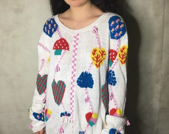 Funky 1980s bright hand knit size L