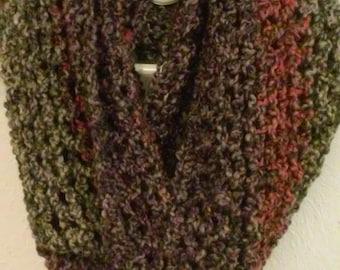 Women's cowl infinity circle loop scarf/ pink, brown, purple subtle stripe
