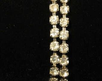 Double strand clear rhinestone bracelet, vintage bracelet, rhinestone bracelet, tennis bracelet, mid century jewelry, bridal jewelry, prom