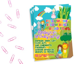 Wizard of Oz Birthday Party Invitation, Printable Wizard of Oz Invitation, Wizard of Oz Birthday Party, Wizard of Oz Themed Party