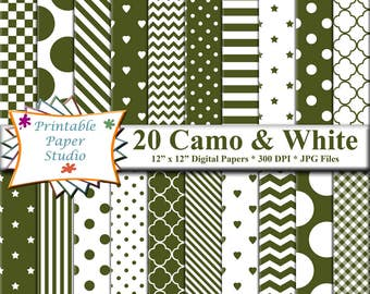 Army Camo Green Digital Paper Pack, Green Colored Paper for Cardmaking, Instant Download Digital File, Camouflage Green Patterned Paper Pack