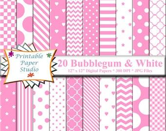Bubblegum Pink Digital Paper Pack, Pink Paper for Scrap booking, Digital File, Instant Download Pink Digital Scrapbook Paper Element